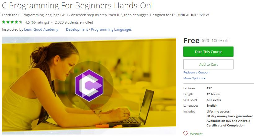 Udemy Coupon – C Programming For Beginners Hands-On! | Free Coupon