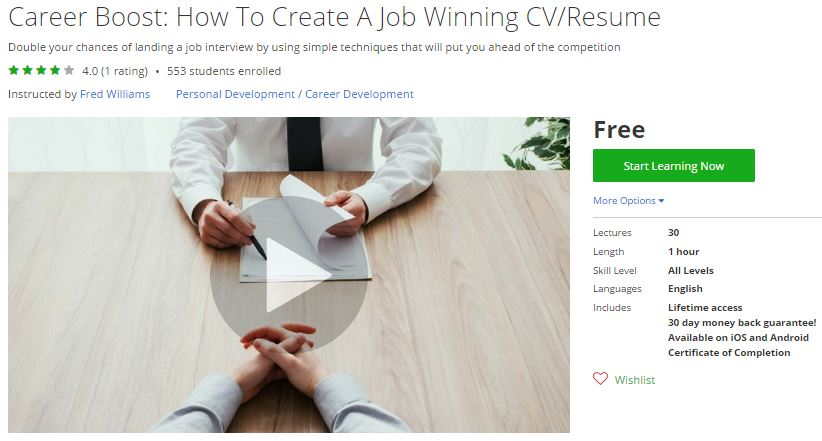 Superior Udemy Coupon U2013 Career Boost: How To Create A Job Winning CV/Resume