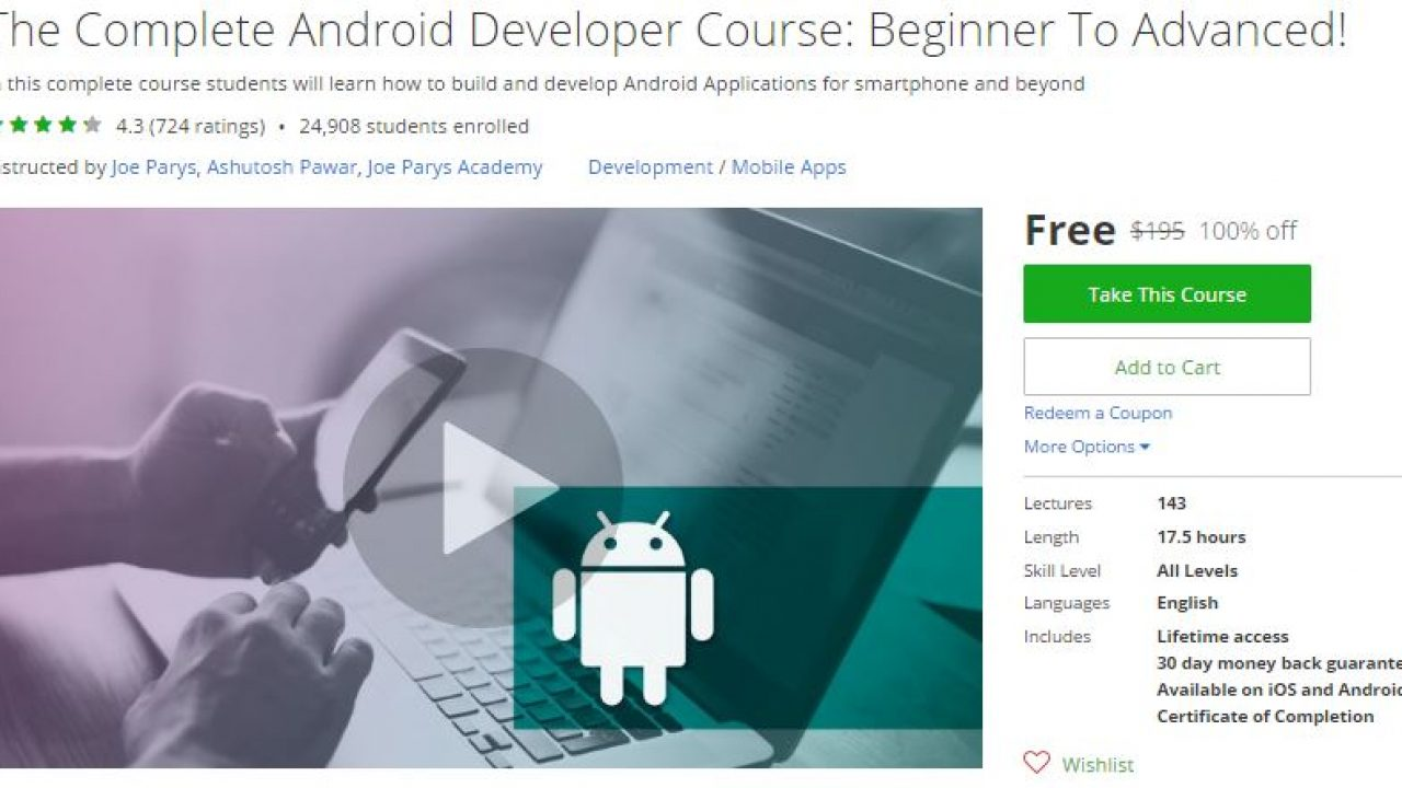 Udemy Coupon – The Complete Android Developer Course