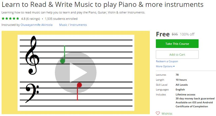 udemy learn how to read music from beginner to intermediate
