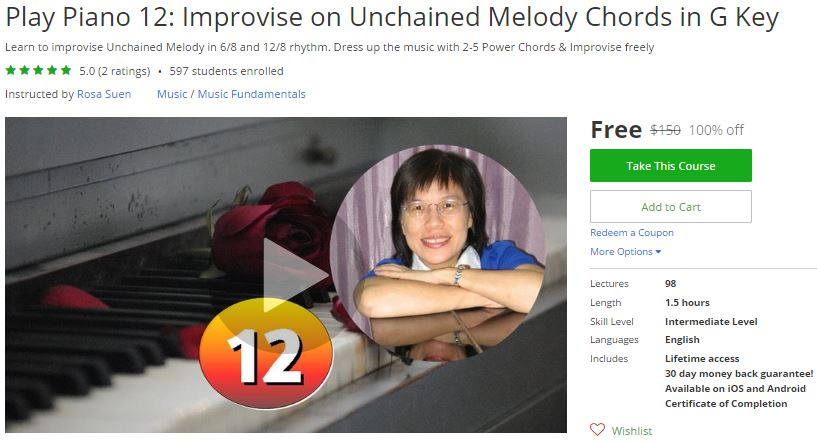 Udemy Coupon – Play Piano 12: Improvise on Unchained Melody Chords ...