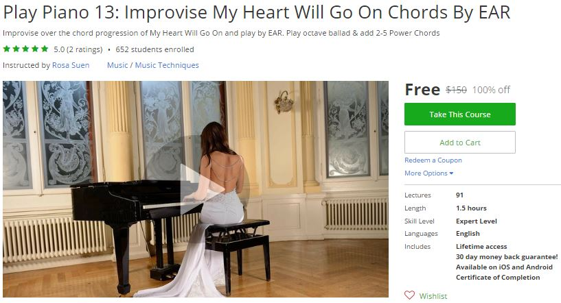 Udemy Coupon Play Piano 13 Improvise My Heart Will Go On Chords