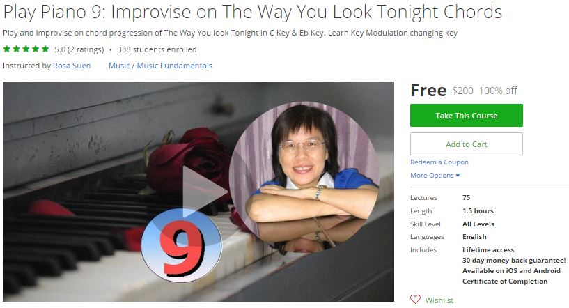Udemy Coupon – Play Piano 9: Improvise on The Way You Look Tonight ...