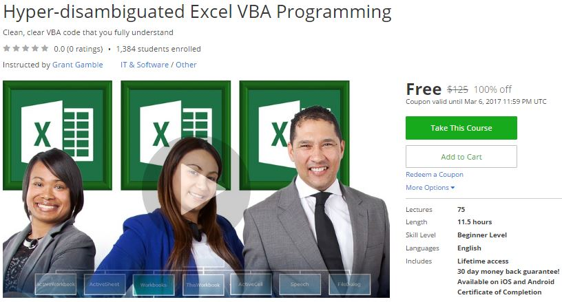 Udemy coupon code excel