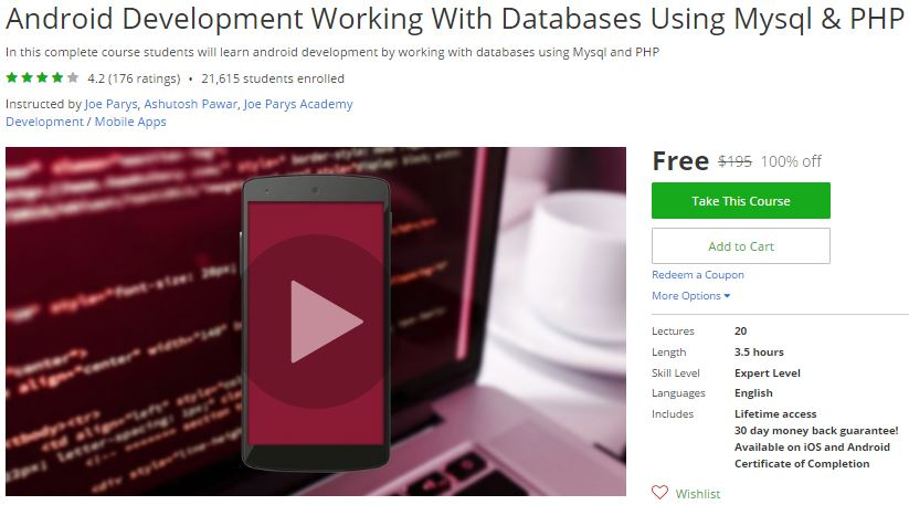 Udemy Coupon – Android Development Working With Databases