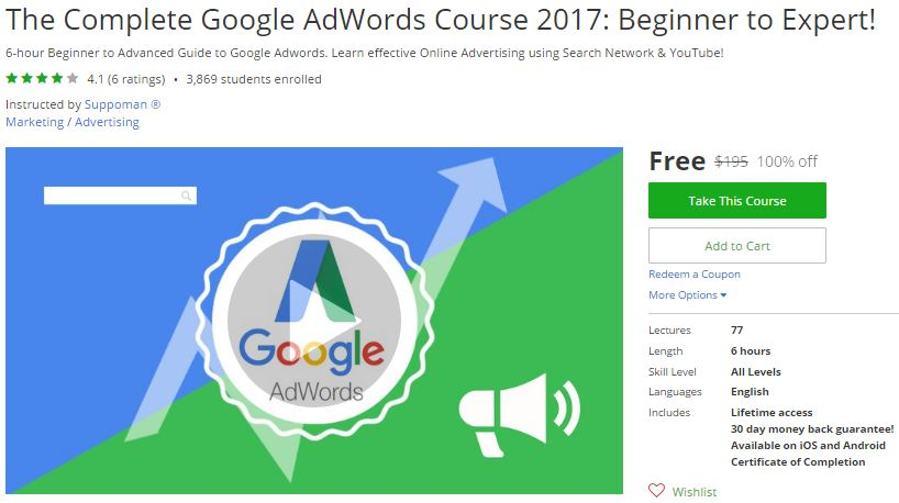 Udemy Coupon – The Complete Google AdWords Course 2017: Beginner to