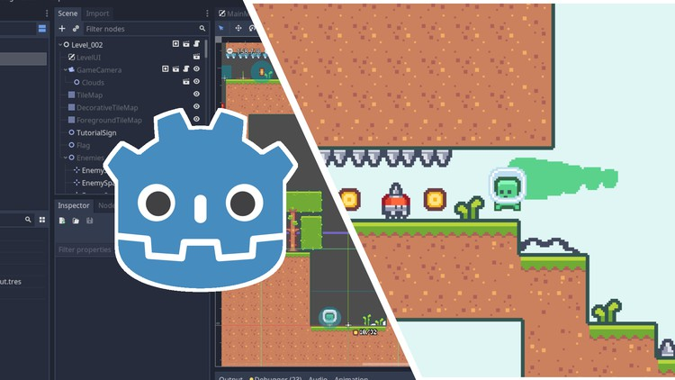 Udemy Coupon-Learn how create 2D platformer from scratch in the Godot Engine, complete with particles, sound effects, UI, and more!