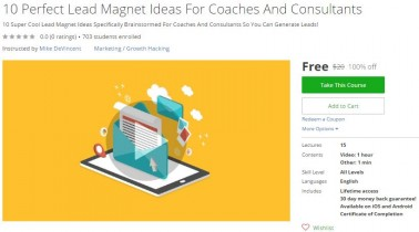 Udemy Coupon – 10 Perfect Lead Magnet Ideas For Coaches And Consultants