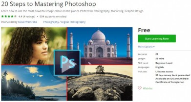 Udemy Coupon – 20 Steps to Mastering Photoshop