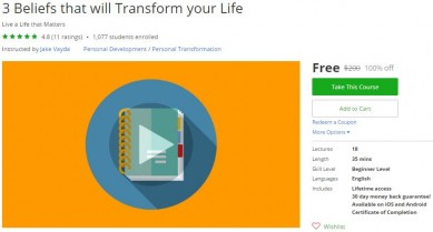 Udemy Coupon – 3 Beliefs that will Transform your Life