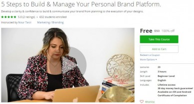 Udemy Coupon – 5 Steps to Build & Manage Your Personal Brand Platform