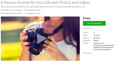 Udemy Coupon – 6 Passive Income for Your Life with Photos and Videos