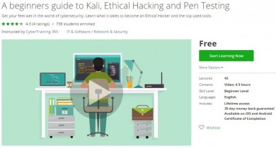 Udemy Coupon – A beginners guide to Kali, Ethical Hacking and Pen Testing