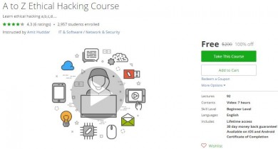 Udemy Coupon – A to Z Ethical Hacking Course