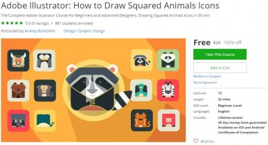 Udemy Coupon – Adobe Illustrator: How to Draw Squared Animals Icons