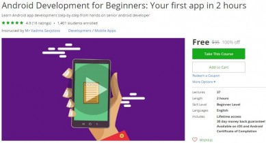 Udemy Coupon – Android Development for Beginners: Your first app in 2 hours