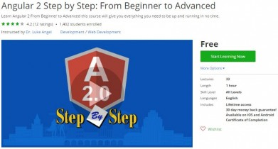 Udemy Coupon – Angular 2 Step by Step: From Beginner to Advanced