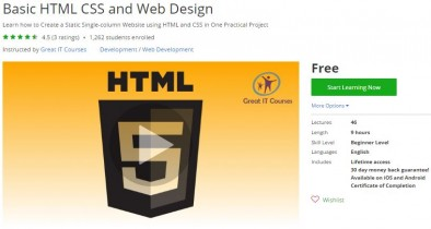 Udemy Coupon – Basic HTML CSS and Web Design