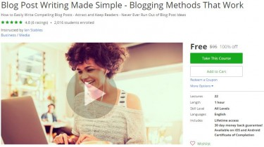 Udemy Coupon – Blog Post Writing Made Simple – Blogging Methods That Work