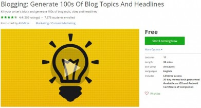 Udemy Coupon – Blogging: Generate 100s Of Blog Topics And Headlines