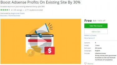 Udemy Coupon – Boost Adsense Profits On Existing Site By 30%