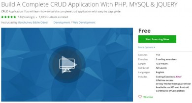 Udemy Coupon – Build A Complete CRUD Application With PHP, MYSQL & JQUERY