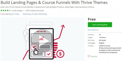 Udemy Coupon – Build Landing Pages & Course Funnels With Thrive Themes