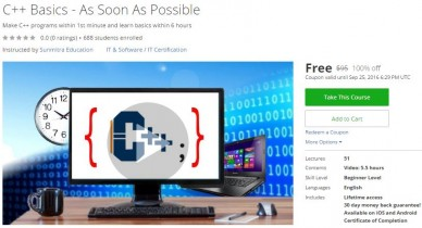 Udemy Coupon – C++ Basics – As Soon As Possible