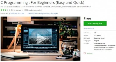 Udemy Coupon – C Programming : For Beginners (Easy and Quick)