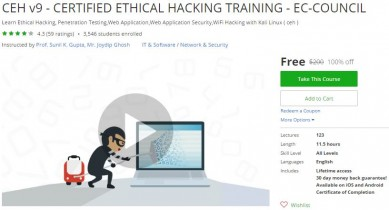Udemy Coupon – CEH v9 – CERTIFIED ETHICAL HACKING TRAINING – EC-COUNCIL