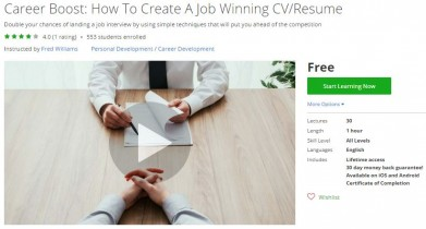 Udemy Coupon – Career Boost: How To Create A Job Winning CV/Resume