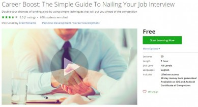 Udemy Coupon – Career Boost: The Simple Guide To Nailing Your Job Interview