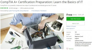 Udemy Coupon – CompTIA A+ Certification Preparation: Learn the Basics of IT