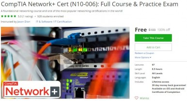 Udemy Coupon – CompTIA Network+ Cert (N10-006): Full Course & Practice Exam