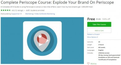 Udemy Coupon – Complete Periscope Course: Explode Your Brand On Periscope