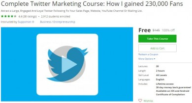 Udemy Coupon – Complete Twitter Marketing Course: How I gained 230,000 Fans