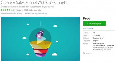 Udemy Coupon – Create A Sales Funnel With ClickFunnels