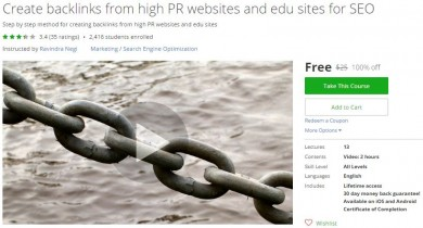 Udemy Coupon – Create backlinks from high PR websites and edu sites for SEO