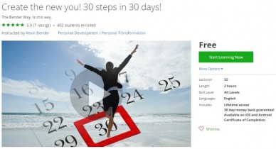 Udemy Coupon – Create the new you! 30 steps in 30 days!