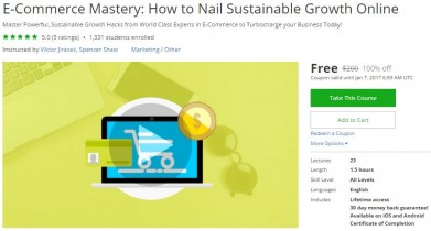 Udemy Coupon – E-Commerce Mastery: How to Nail Sustainable Growth Online
