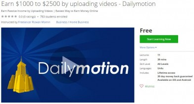 Udemy Coupon – Earn $1000 to $2500 by uploading videos – Dailymotion