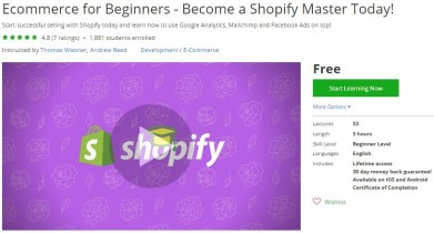 Udemy Coupon – Ecommerce for Beginners – Become a Shopify Master Today!