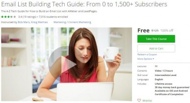 Udemy Coupon – Email List Building Tech Guide: From 0 to 1,500+ Subscribers