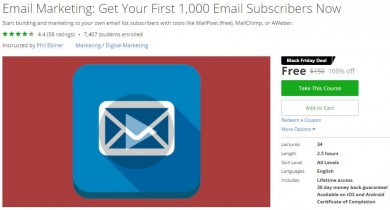 Udemy Coupon – Email Marketing: Get Your First 1,000 Email Subscribers Now