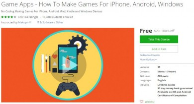 Udemy Coupon – Game Apps – How To Make Games For iPhone, Android, Windows
