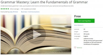 Udemy Coupon – Grammar Mastery: Learn the Fundamentals of Grammar