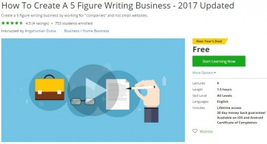 Udemy Coupon – How To Create A 5 Figure Writing Business – 2017 Updated