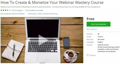 Udemy Coupon – How To Create & Monetize Your Webinar Mastery Course