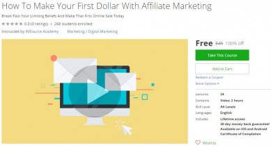 Udemy Coupon – How To Make Your First Dollar With Affiliate Marketing