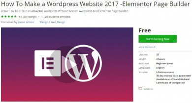Udemy Coupon – How To Make a WordPress Website 2017 -Elementor Page Builder